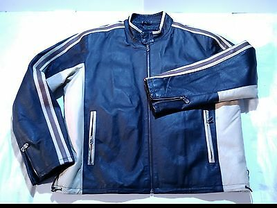 Men's Wilda Leather Jacket Size 2XL XXL Motorcycle zip out quilted lining Black