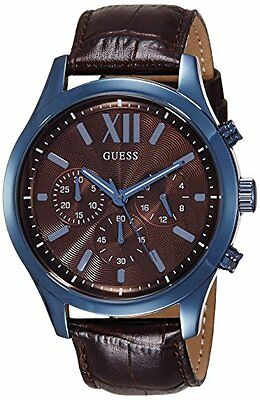 GUESS Men's Chronograph Leather Strap Brown Dial Watch W0789G2