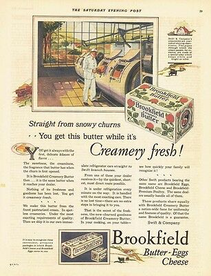 1927 AD Brookfield butter, eggs and cheese inside a creamery