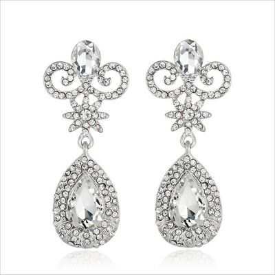 Elegant Clear Austrian Rhinestone Crystal Chandelier Dangle Earrings Prom E12