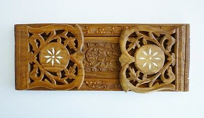 """Hand Carved Wood Expandable Foldable 13"""" to 21"""" Book Shelf Holder Stand India"""