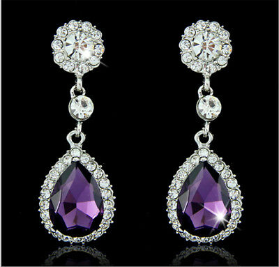 Tier Drop Amethyst Austrian Rhinestone Crystal Dangle Earrings Bridal Prom E14p