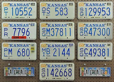 10 KANSAS Sunflower Vintage 1980s License Plates Tags Signs Man Cave LOT 552