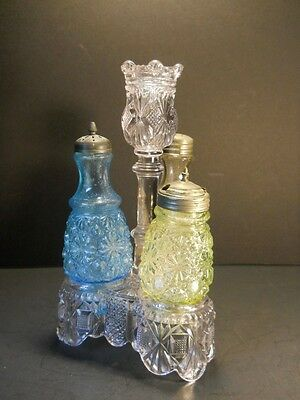 "EAPG  Daisy & Button Condiment Set 9"" tall Vaseline/Clear/Blue Bottles"