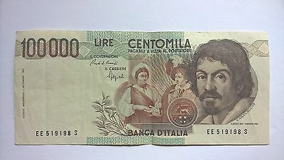 Caravaggio hundred thousand Lire 100.000 Centomila Lire banknote Italy