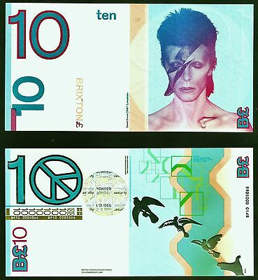 England / David Bowie / Brixton - £10 note, UNC. + Royal Mail FDC +Aladdin Stamp