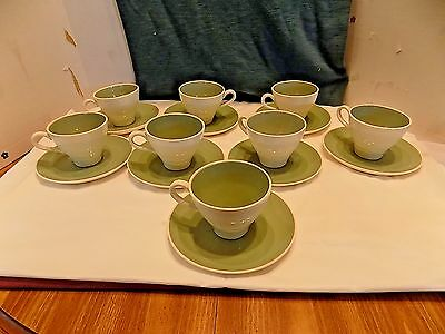 8  Vintage Harkerware Green Coffee Cups And Saucers