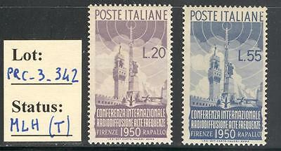 "PRC_3_342. REPUBLIC. 1950 ""CONFERENZA RADIODIFFUSIONE FIRENZ"". Sas 623-624. Mint"
