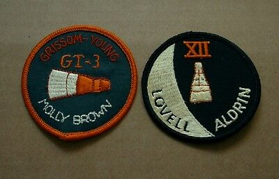 TWO NASA GEMINI Mission Patches; GT-3 (Grissom/Young) & XII (Lovell/Aldrin)