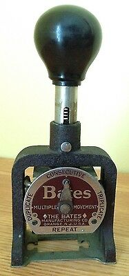 Vintage Bates Numbering Machine Style E 6 Wheel Serial No 476882