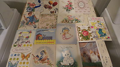 Lot of Vintage Used BIRTHDAY GREETING CARDS 23 Cards, Kittens,Floral