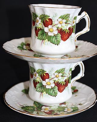 Vintage Spode Hammersley Bone China England Strawberry Ripe Cup & Saucer