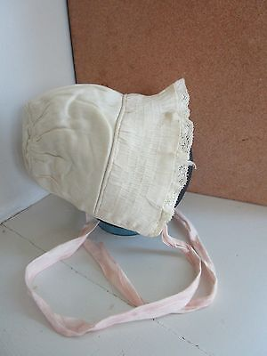 Vintage Childs/Doll Cap, Bonnet, Hat with Lace and Ruching