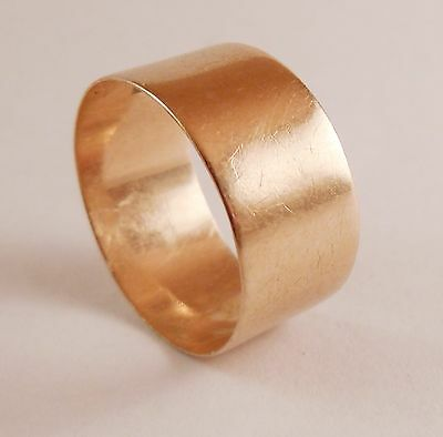 100% Genuine Vintage 9ct Solid Yellow Gold Wide Band Ring Sz. 8.5