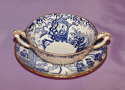 Blue Mikado Royal Crown Derby Two Handled Cream Soup Bowl And Saucer ☆☆Mint☆☆