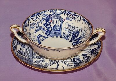 Blue Mikado Royal Crown Derby Two Handled Cream Soup Bowl And Saucer Gorgeous