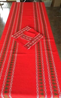 Vtg Scandinavian Wool CHRISTMAS Tablecloth  Red w/ Trees 10 Napkins w/ Snowflake