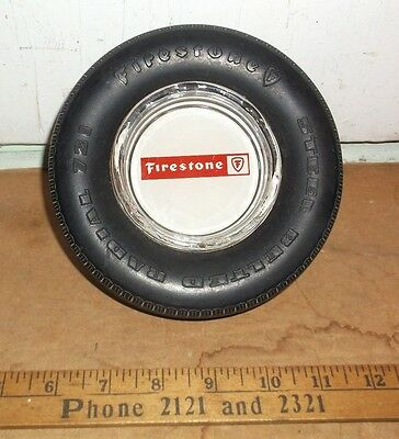 "vintage FIRESTONE Tire Shaped Ashtray ""Steel Belted Radial 721"""