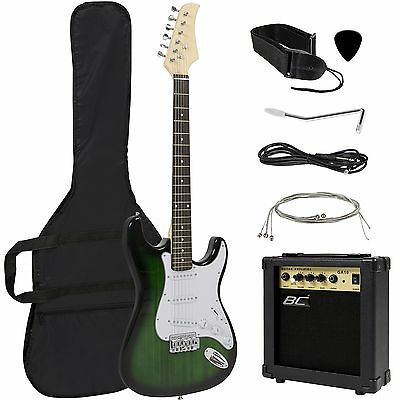 Full Size Green Electric Guitar with Amp Case and Accessories Pack Beginner S...