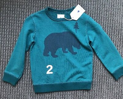 Country Road Boys Green Bear Jumper Long Sleeve Top Sweater Size 4 BNWT New
