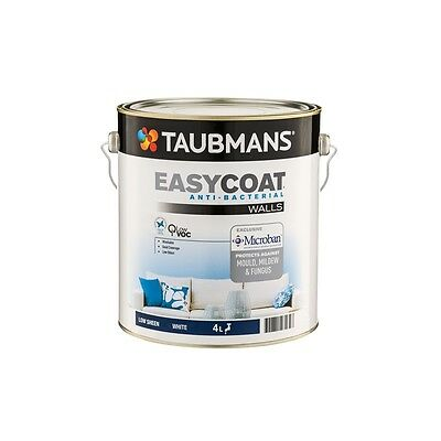 TAUBMANS EASY-COAT 4 LITRE ANTI-BACTERIAL ACRYLIC LOW/SHEEN WHITE colour paint