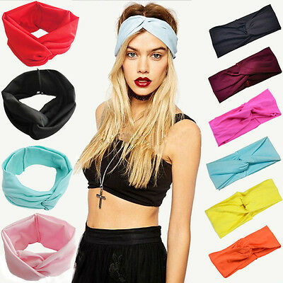 Women Cotton Turban Twist Knot Head Wrap Headband Twisted Knotted Hair Band  BL