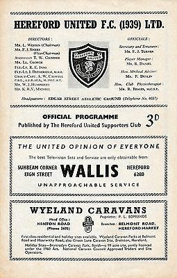 Hereford v Rugby Town (Southern League) 1963/4