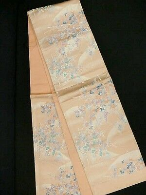 UNUSED Japanese Peach Silk Fukuro-Obi 'Bush Clover' For Kimono/Runner/Crafts?