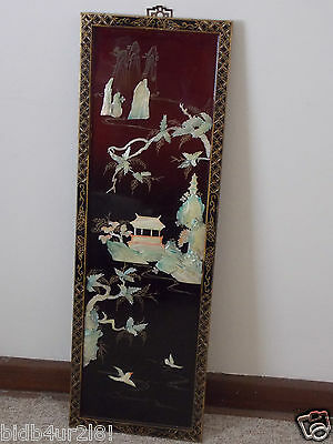 Mother of Pearl Shell Wall Art Wall Hanging Asia Antique Lacquer Picture Artwork