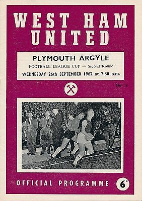 West Ham v Plymouth Argyle 1962/3  - Early League Cup