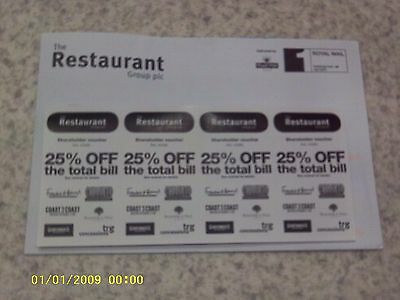4 Vouchers Frankie & Benny's/chiquito/garfunkels/coast To Coast/filling Station