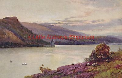 Postcard Lake Vyrnwy The Hotel and Tower North Wales Painting Vintage  AI381