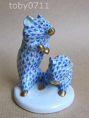 HEREND BLUE FISHNET PORCELAIN MICE / HAMSTERS ? FIGURE (Ref1900)