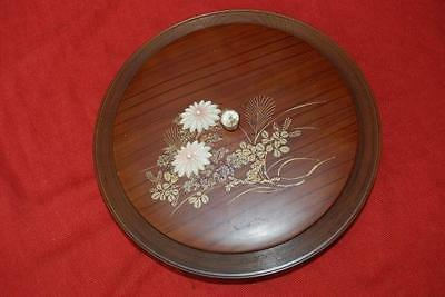 Collectable VINTAGE 1970s. Laquerware Serving Dish. Pink Flower/Gold. Made-Japan