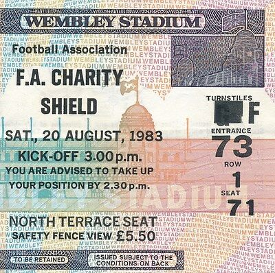 TICKET: FA CHARITY SHIELD 1983 Liverpool v Man United
