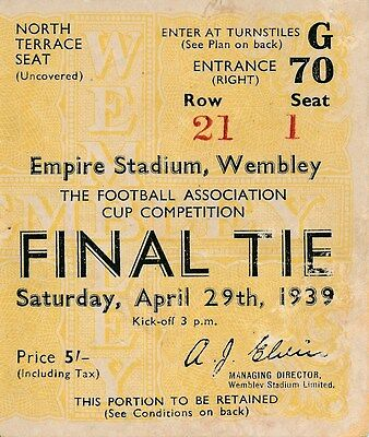 TICKET: FA CUP FINAL 1939 Portsmouth v Wolves
