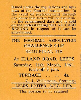 TICKET: FA CUP SEMI FINAL 1961 Leicester v Sheffield United @ Leeds