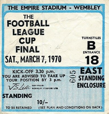 TICKET: LEAGUE CUP FINAL 1970 West Brom v Manchester City