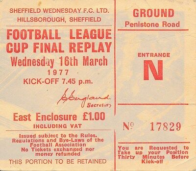 TICKET: LEAGUE CUP FINAL 1977 REPLAY Everton v Aston Villa