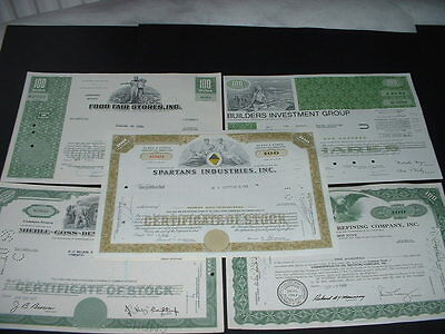 SCRIPOPHILY (K4) VINTAGE CERTIFICATES,  5 DIFFERENT U.S.A.  SHARE / STOCK BONDs