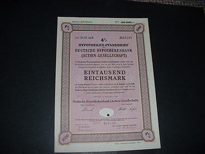 Gremany /berlin 1/10/42 1000 Reichmarks War Bond  With Embossed  State Seal