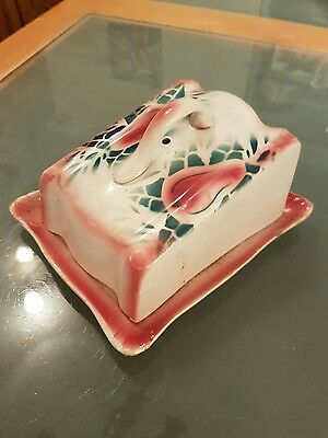Vintage wedge shaped lidded cheese dish