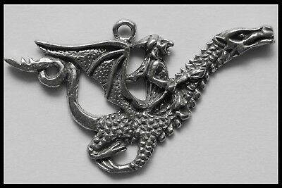 PEWTER CHARM #118 WITCH riding a flying DRAGON (48mm x 30mm) 1 bail