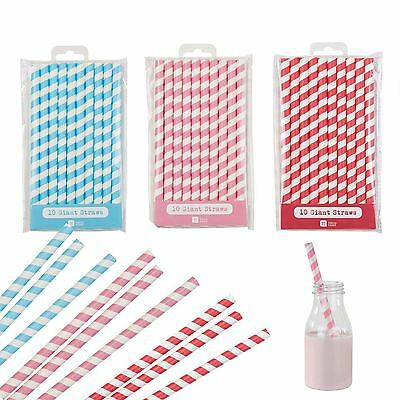 Talking Tabls Giant Jumbo Milkshake Straws 10pk Striped Paper Straw Bubble Tea