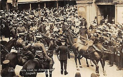 POSTCARD  WALES  ABERGAVENNY  MILITARY   LORD  ROBERTS  VISIT  Aug  1905   RP