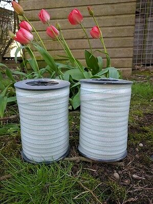 (400m) 2x 200m 20mm White Electric Fence Fencing Poly Tape