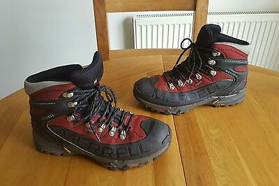 Merrell hiking boots uk 10 44.5 red black hiking trail walking goretex vibram