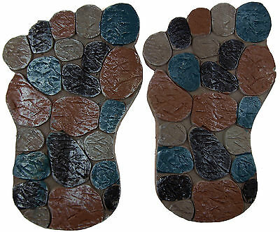 Set Of 2 Garden Stepping Stones - Novelty Foot Print Pebble Design