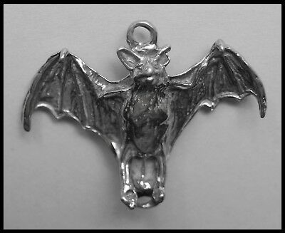 PEWTER CHARM #133 BAT with open wings 2 bails joiner double sided 35mm x 33mm
