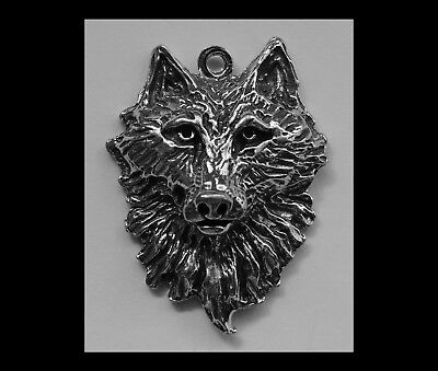 PEWTER CHARM #193 WOLF HEAD 30mm x 25mm silver tone